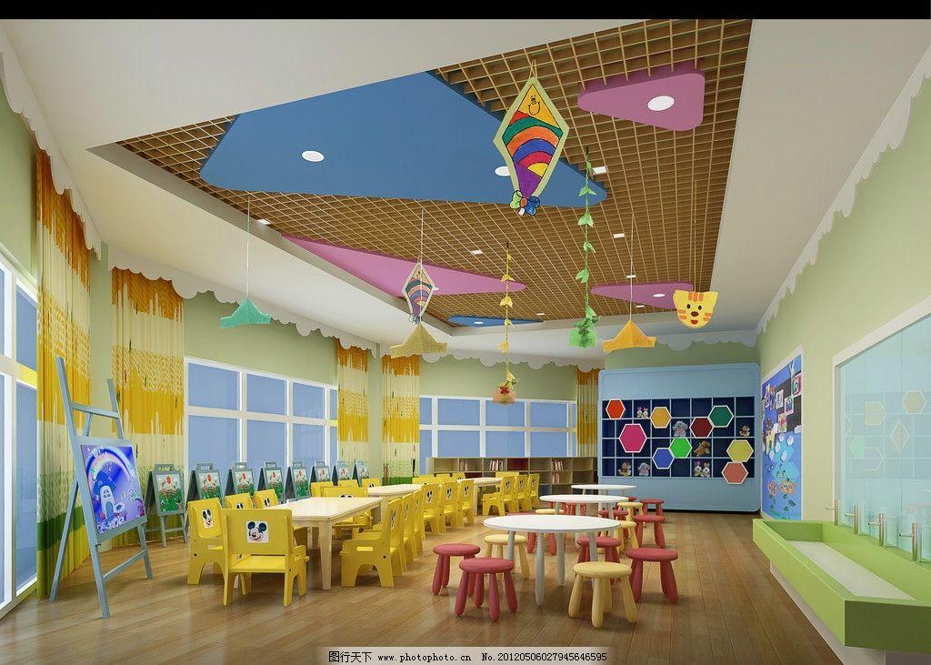 幼儿园效果图 幼儿园 美术室 画室 托儿所 卡通 卡通画 儿童画 桌子图片