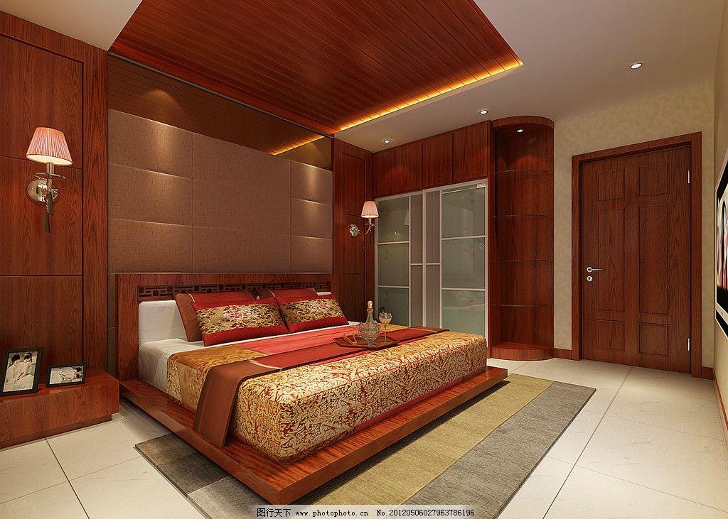 室内效果图装修效果图 装修 装饰        卧室装修 地板 地板砖 木门
