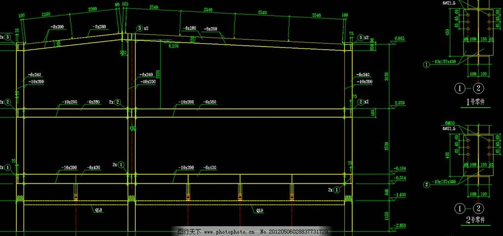 钢结构厂房 剖面图片