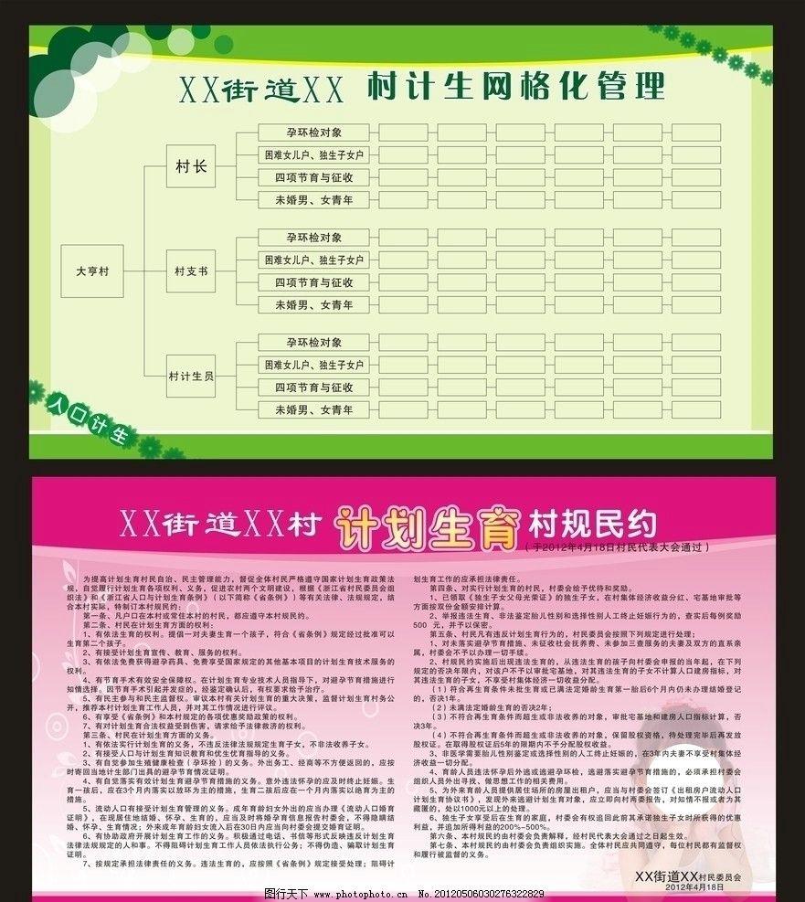 计划生育 村规民约 计生网格化管理 自治章程 制度 展板模板 广告设计