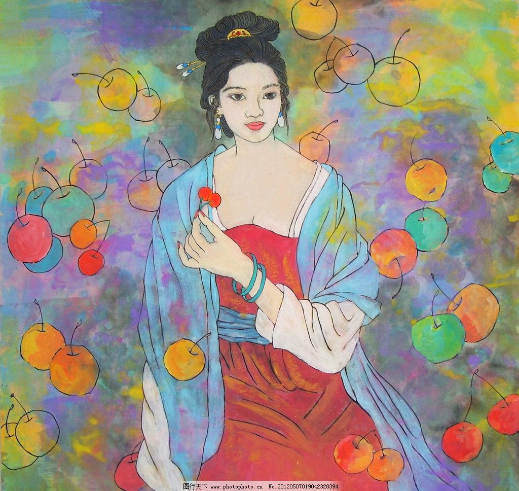 国画 中国画 人物国画 写意画 彩墨人物画 书法 大师作品 人物画 美女