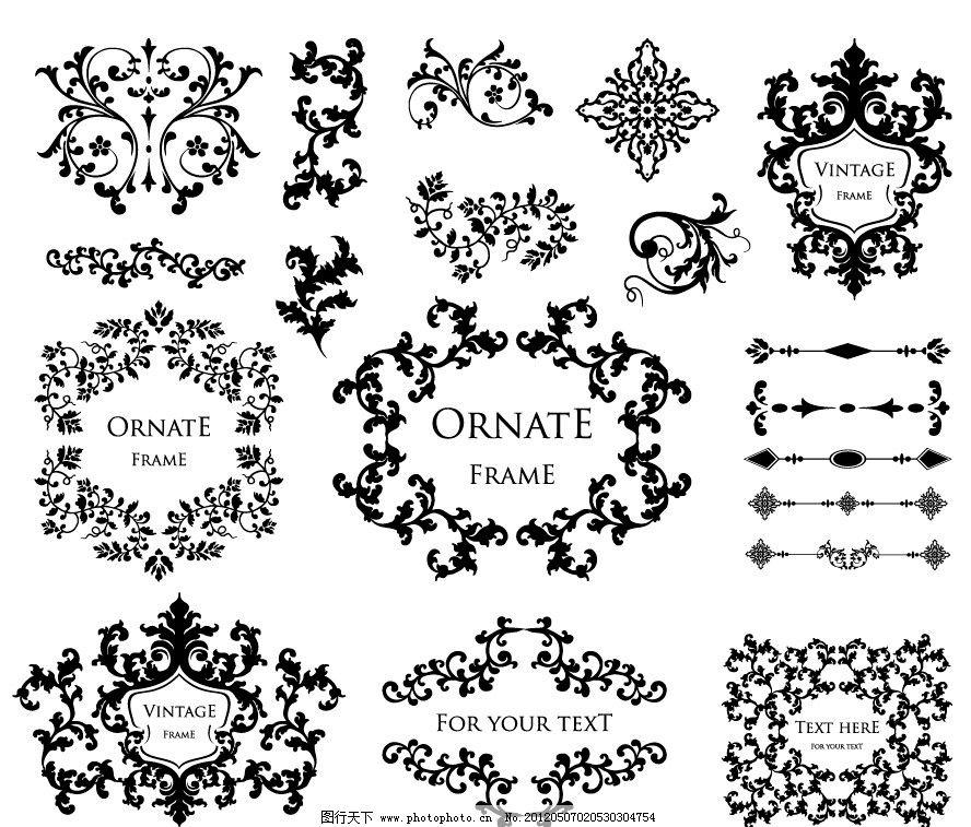 古典花纹花边框装饰 欧式