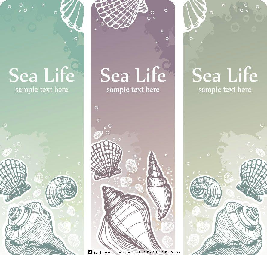 手绘海洋生物展板图片