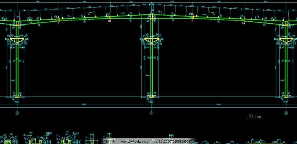钢结构工程 剖面详图 施工图 网架 桁架 节点 轻钢 钢构 建筑