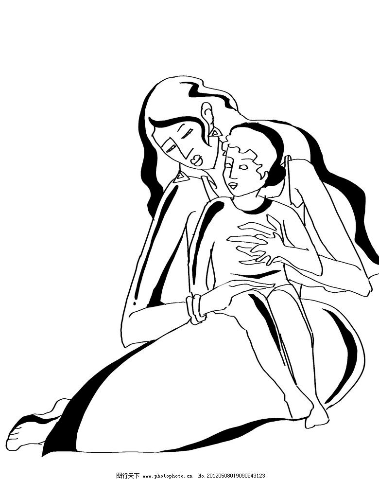 黑白人物装饰之母与子图片