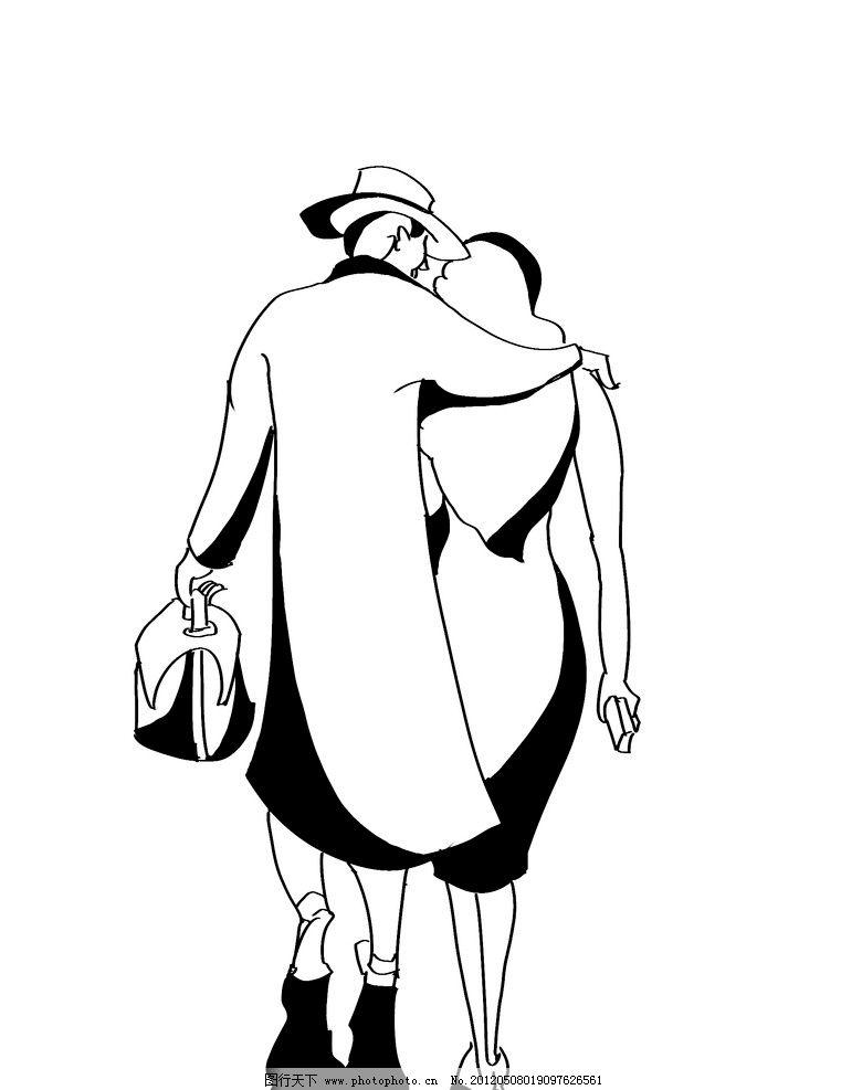 男女散步黑白装饰 黑白装饰画 人物 黑白 装饰 黑白插图 插画 男女