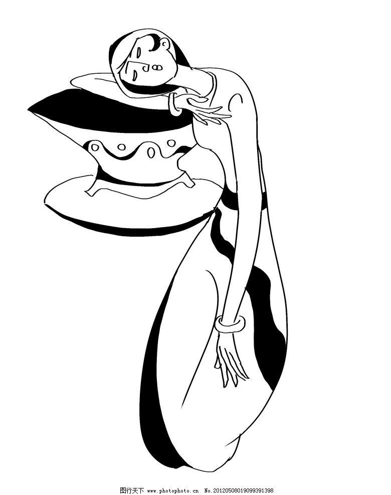 线条人物黑白装饰画风格图案