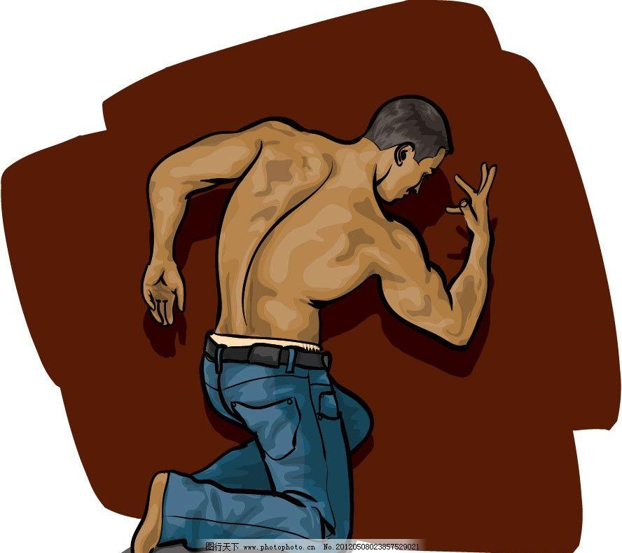 漫画肌肉男生手绘图