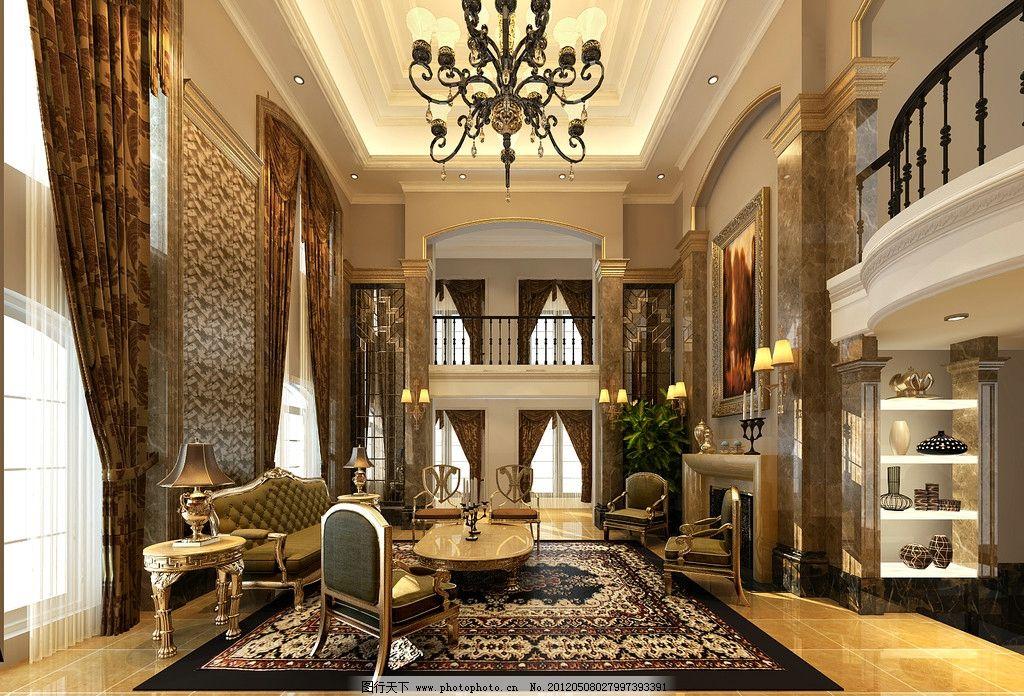 别墅客厅 别墅             奢华 贵族 欧式 室内设计 环境设计 设计