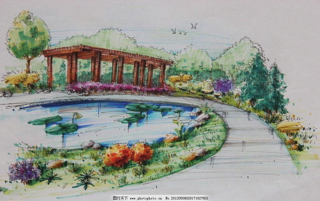 室外园林效果图 室外 园林        庭院 走廊 荷花池 景观设计 环境