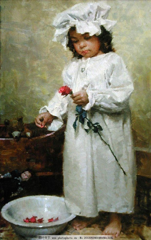 油画 小孩图片