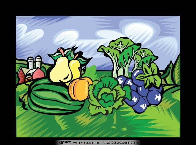 彩色版画 蔬菜水果图片