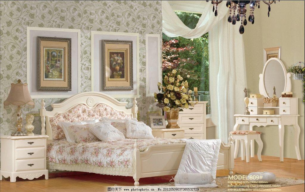 欧式套房家具 欧式家具 套房家具 大床 床头柜 梳妆台 家居生活 生活