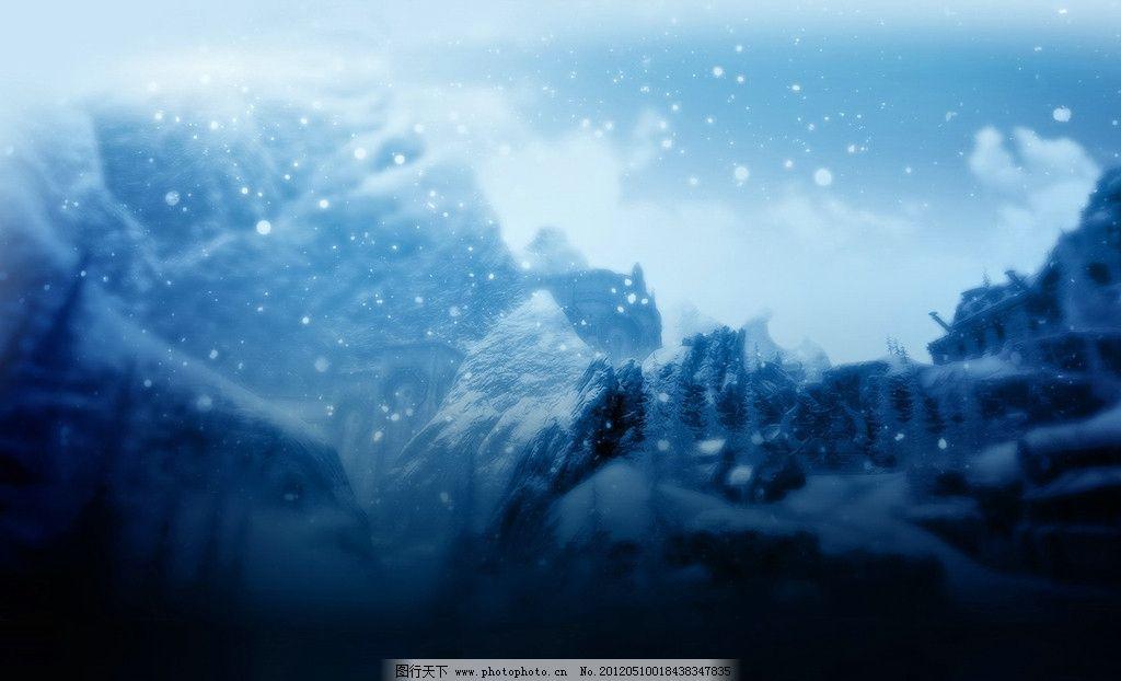 温馨雪景 唯美壁纸 下雪壁纸 下雪风景 蓝色 温馨背景 冷色 月光 天空
