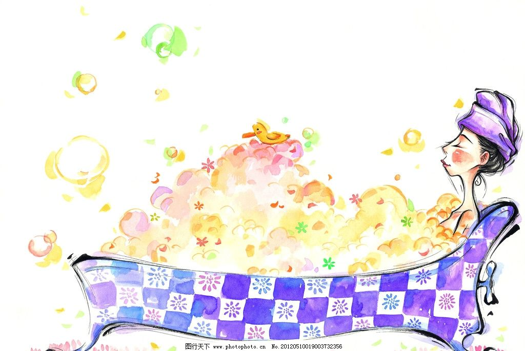 水彩画 童年 手绘图 手绘插画 童年生活 洗澡 浴缸 泡泡 儿童生活