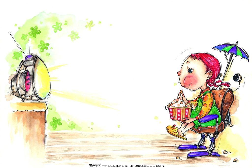 水彩画 童年 手绘图 手绘插画 童年生活 看电视 电视 电视机 爆米花