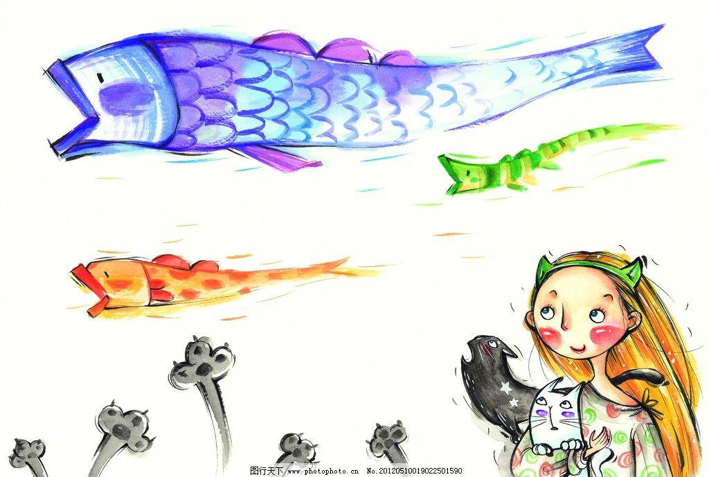 大鱼 莲蓬 水粉画 插画 梦想 生活 彩粉画 蜡笔画 彩铅画 儿童画 卡通
