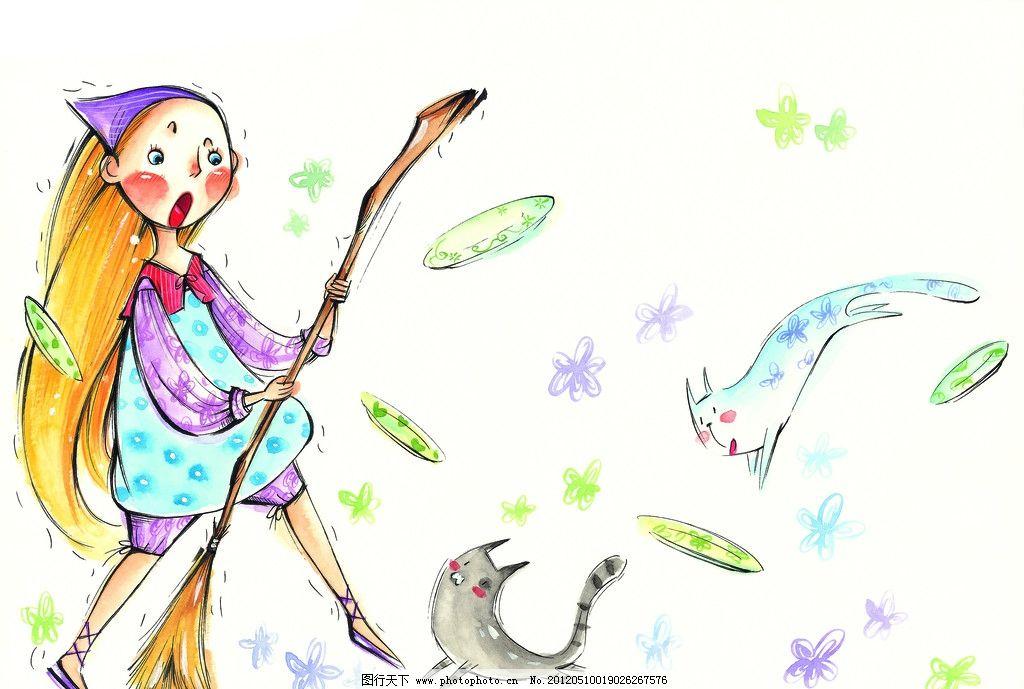 童年 手绘图 手绘插画 童年生活 儿童生活 扫帚 扫地 小猫 猫咪 盘子