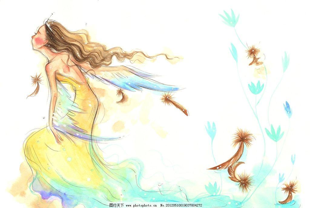 水彩画 童年 手绘图 手绘插画 奔跑 翅膀 天使 童年生活 女孩