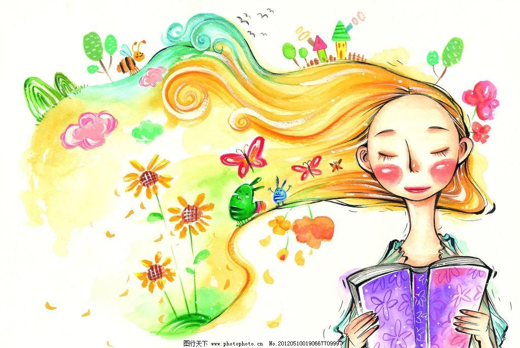 彩粉画 蜡笔画 彩铅画 儿童画 卡通画 植物 花草 玩耍 人物插画 手绘