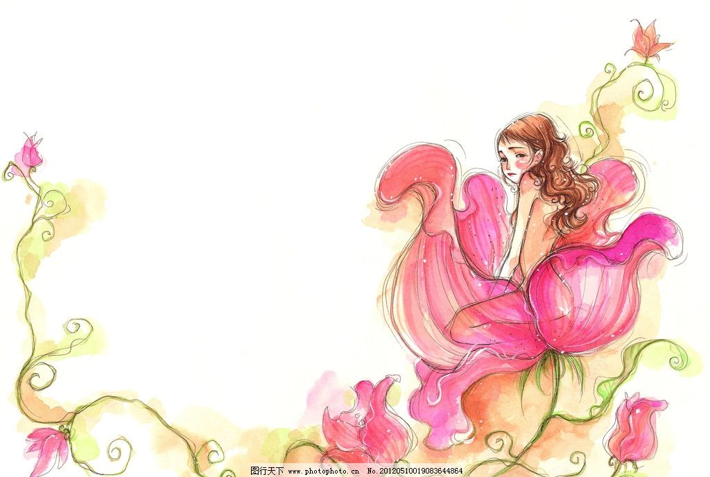 水彩画 童年 手绘图 手绘插画 童年生活 花朵 玫瑰 花仙子 儿童生活