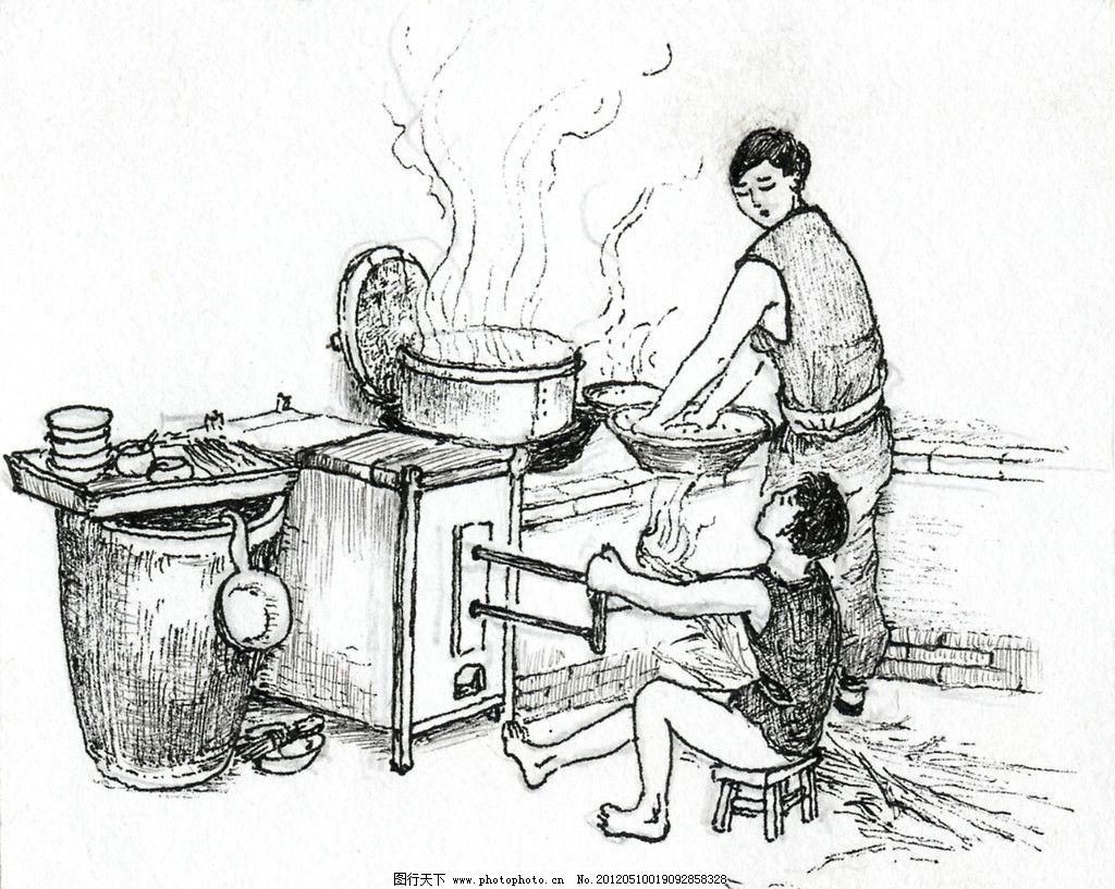做饭线条图图片