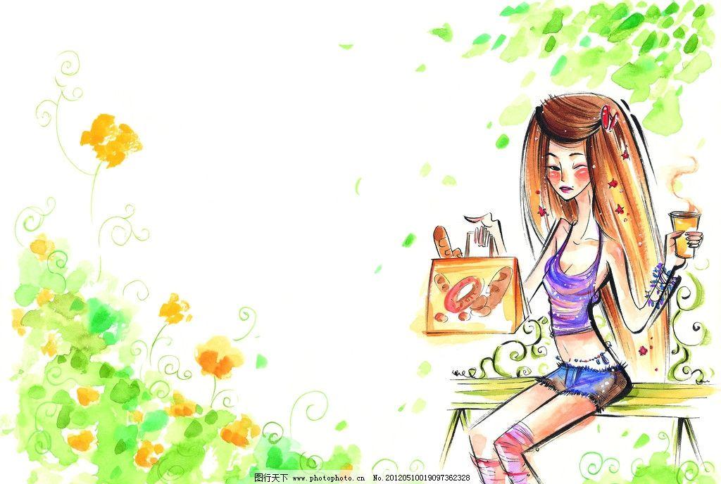 水彩画 童年 手绘图 手绘插画 童年生活 公园 梳妆 休息 咖啡