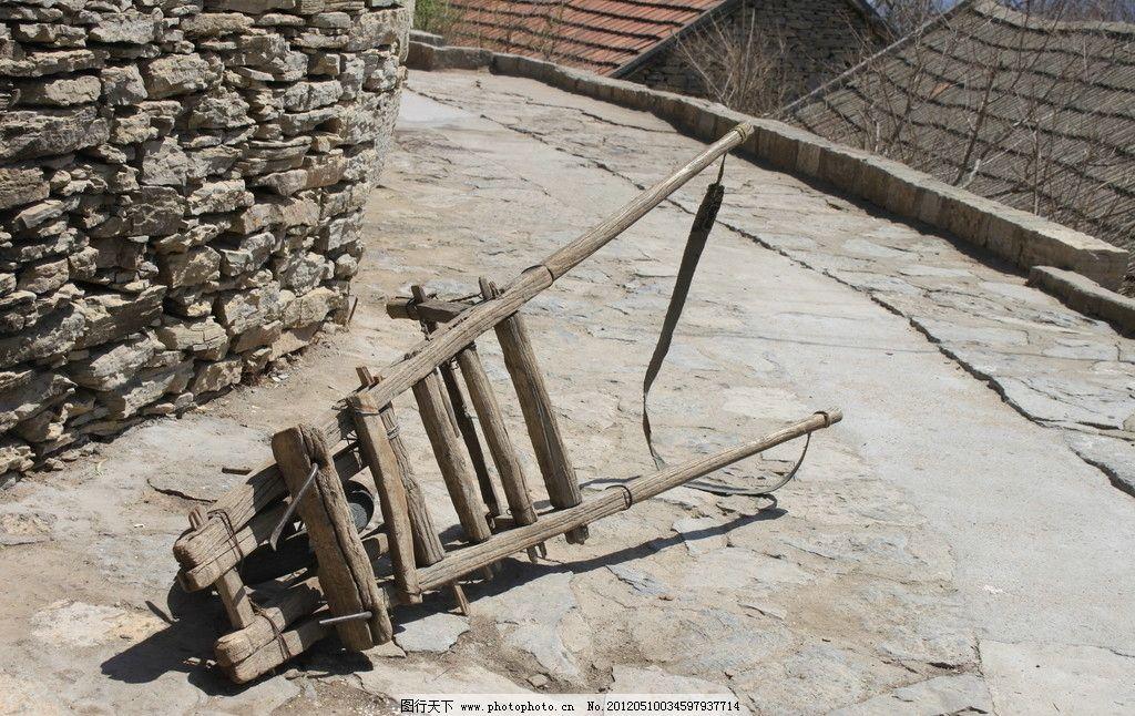 木轮车 木牛流马 小推车 木推车 木车 古时候 古车 运货车 农村 木轮