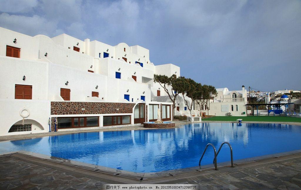 欧式酒店外观 希腊 雅典 海岛建筑 欧式酒店 风光 建筑景观 自然景观