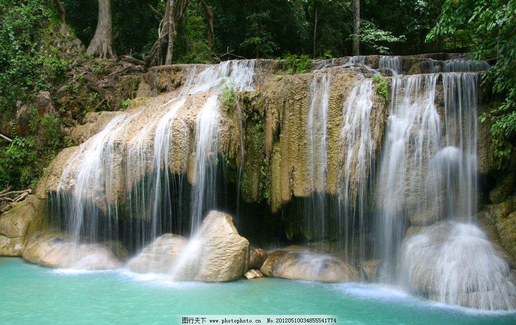 摄影图库 自然景观 自然风景  美丽瀑布 瀑布美景 湖水 树木 山水