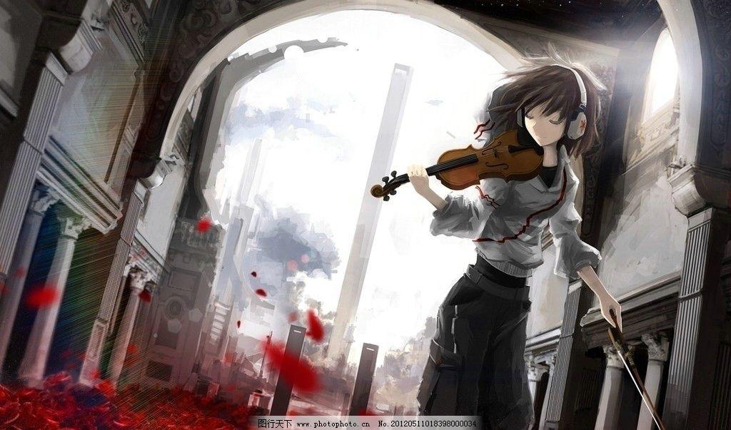 动漫女生拉琴意境图 动漫 女生 小提琴 耳机 城市轮廓 血色花朵 高塔