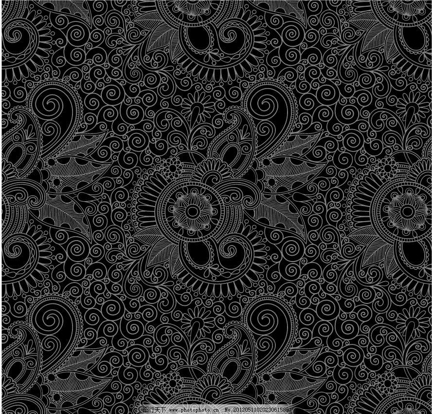 黑白欧式花纹 古典花纹图片