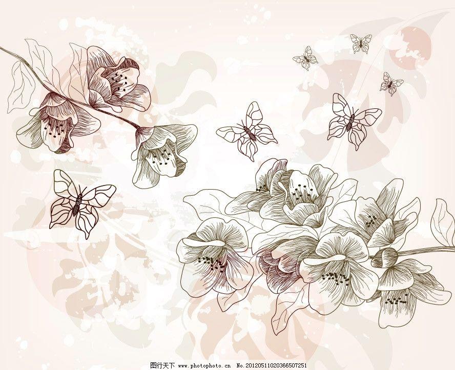梦幻古典花纹花朵 蝴蝶 欧式 花边 鲜花 花卉 时尚 潮流 玫瑰
