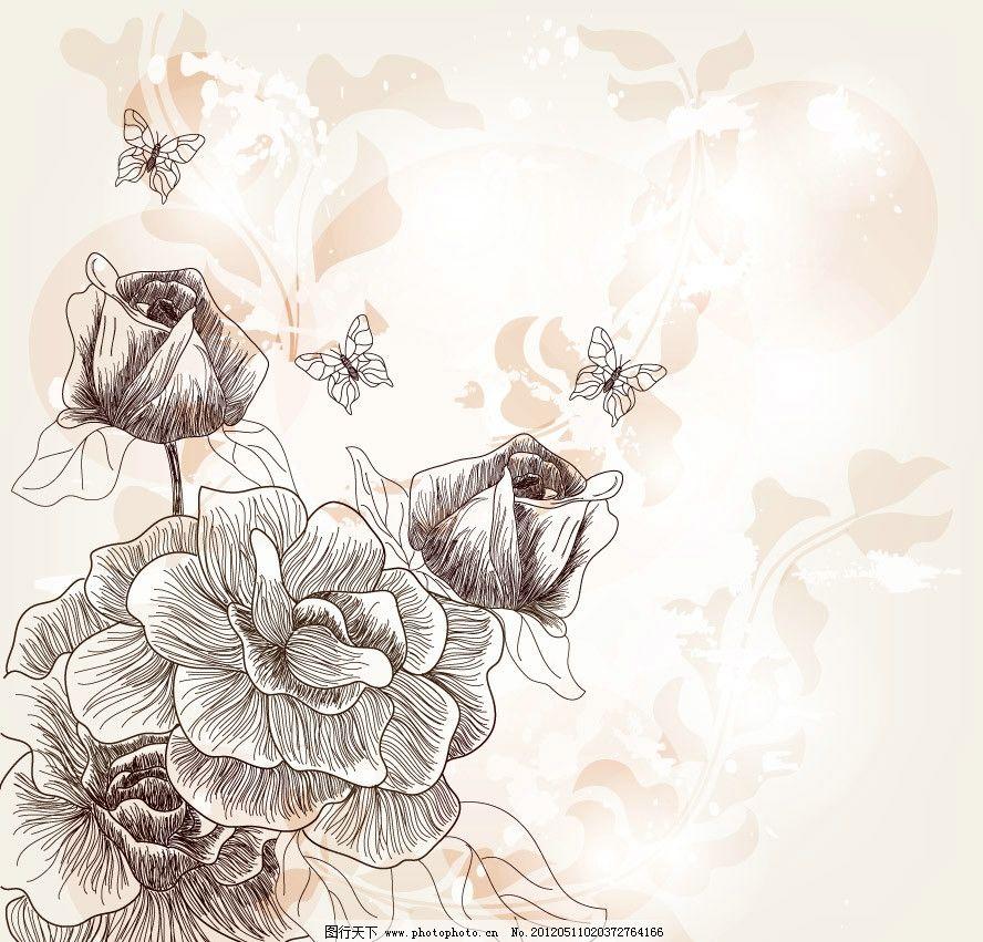 梦幻古典花纹花朵 玫瑰蝴蝶图片