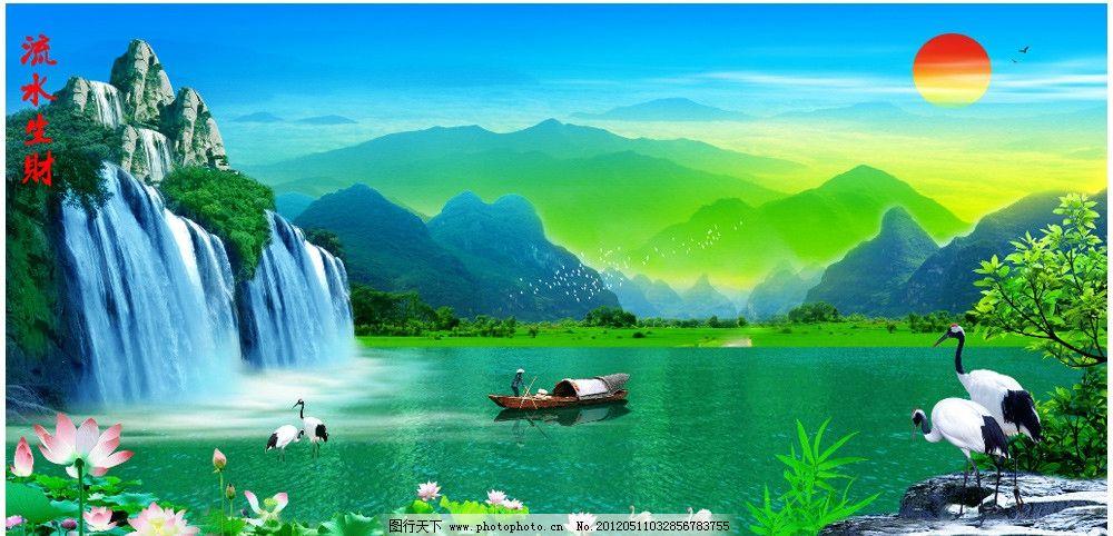 山水房子风景炭笔图片图片