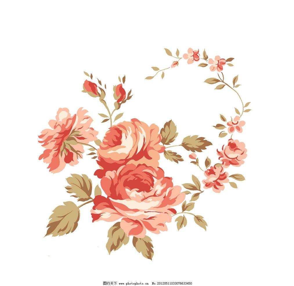 一束花 一捧花 背景 花朵 牡丹花 红色 叶子 水彩 晕染 梦幻