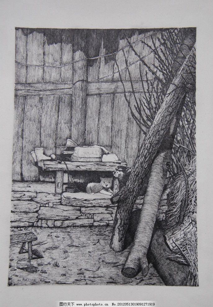 手绘小景图片,黑白 风景 素描 木头 木围栏 小凳子-图