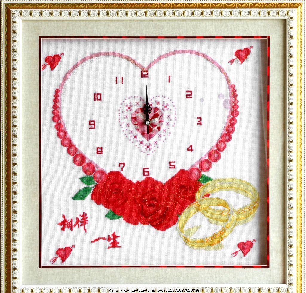 相伴一生十字绣 生活 文化 摄影 时钟 戒指 箭头 玫瑰 边框