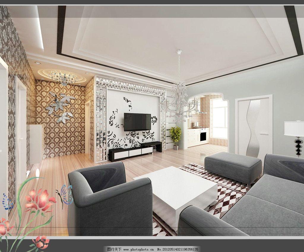门厅 家装效果图        吊顶效果图 沙发 电视柜 门      3d设计