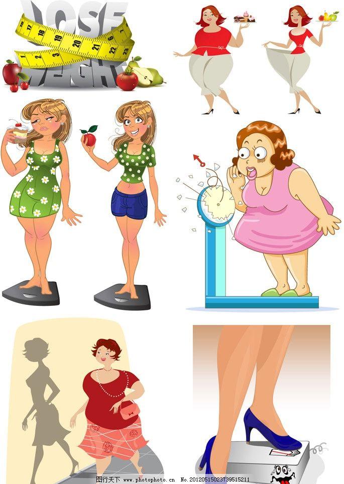 女人 表情 蔬菜 水果 称体重      手绘 卡通 矢量 妇女女性 矢量人物