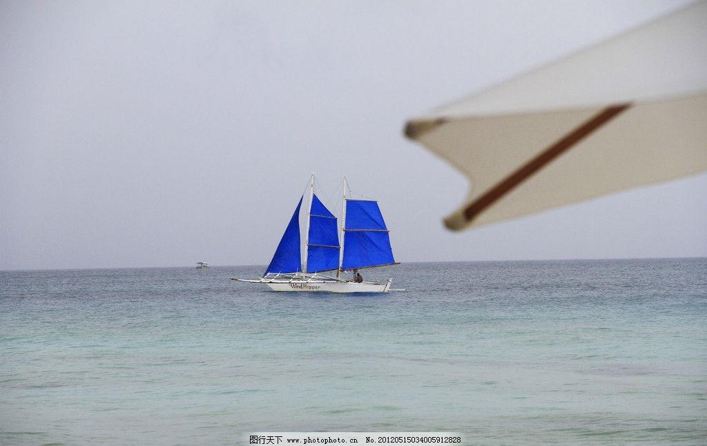 帆船 菲律宾 长滩岛 旅游 沙滩 蓝天 白云 热带 东南亚 海岛