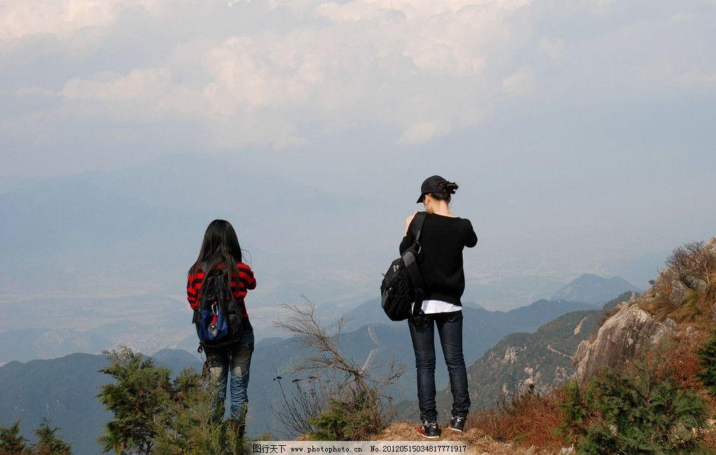 美丽风情 登山 蓝天 美女 山顶 风景 自然风景 自然景观 摄影