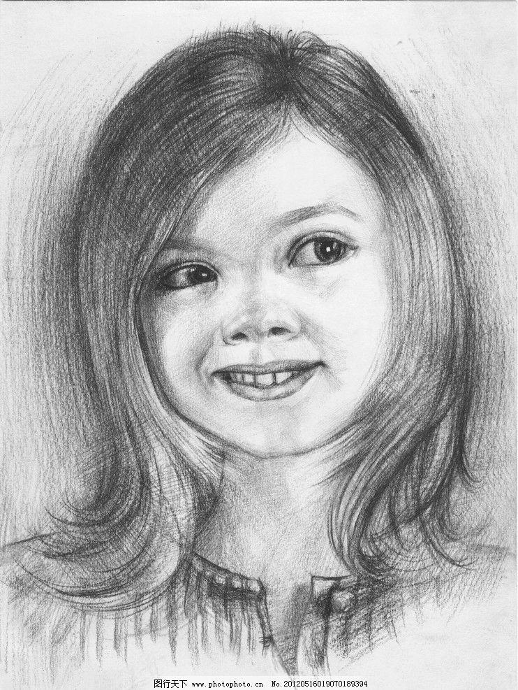 外国小女孩 小女孩 女孩 素描 素面女孩 素描人物 绘画书法 文化艺术