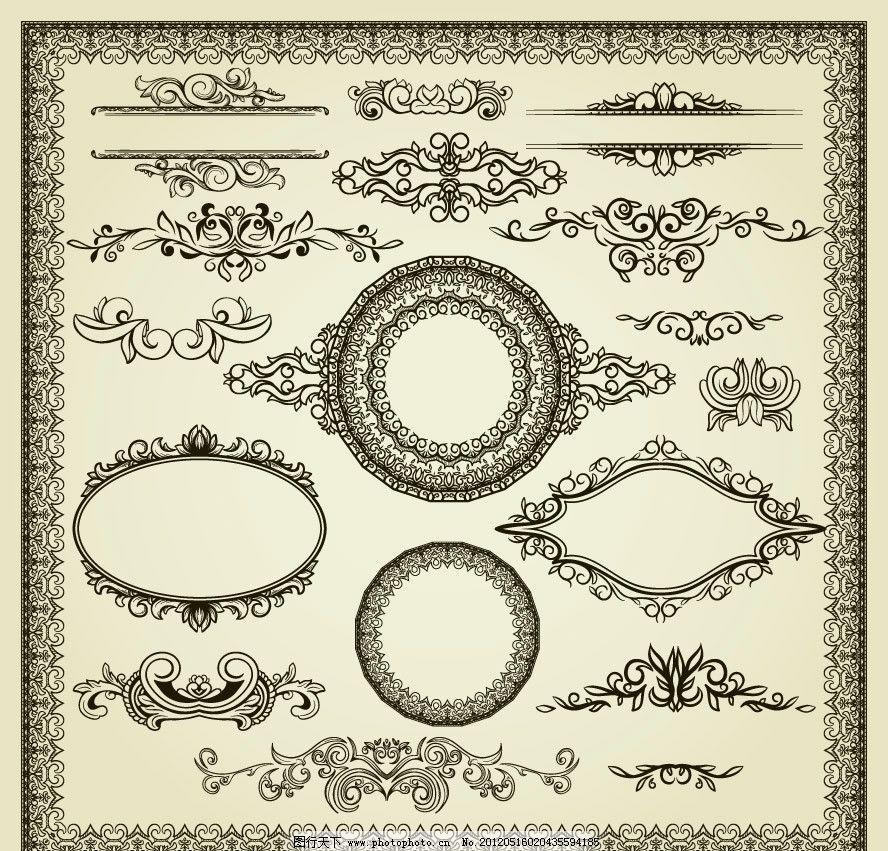 欧式花纹花边框装饰设计图片