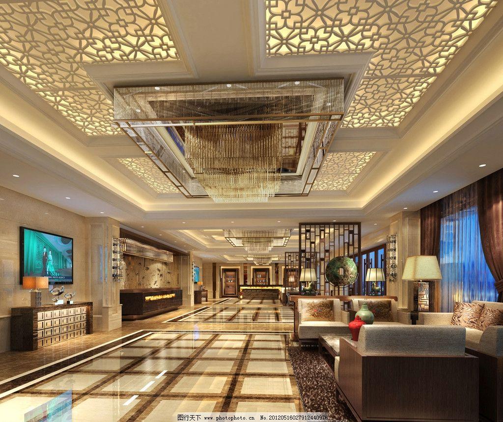 酒店大堂效果图 中式 餐饮 大厅 沙发 吧台 电视 豪华 奢华