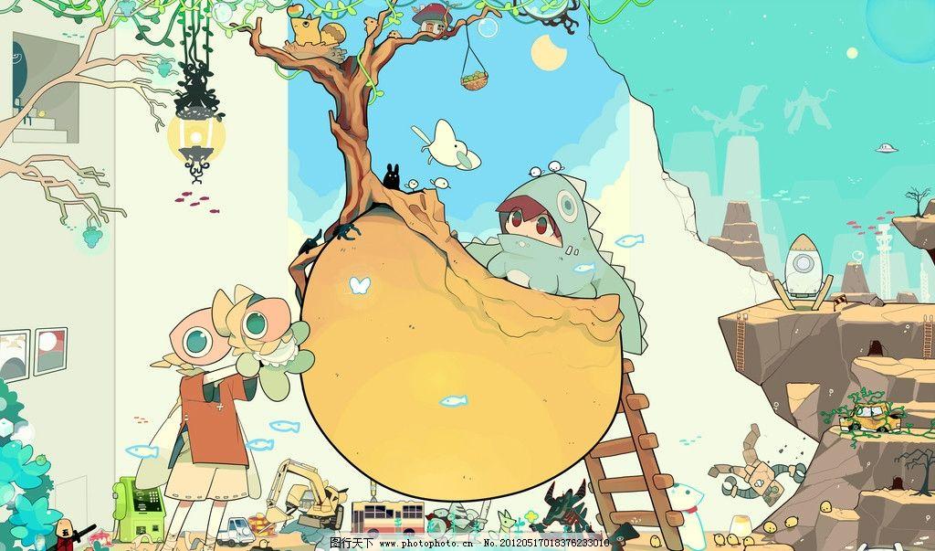 可爱卡通 可爱 卡通 男孩 女孩 唯美 小鸟 猫 动漫人物 动漫动画 设