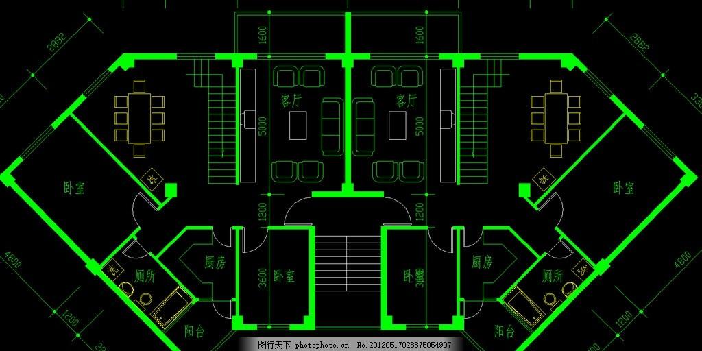 设计图库 环境设计 施工图纸  户型 复式住宅 五房三厅 中小户型 经济