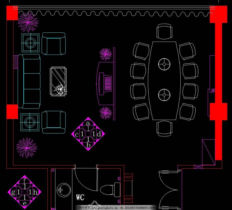 包廂平面 室內設計 餐廳 包間 餐飲 三峽風情火鍋廳裝飾設計cad方案