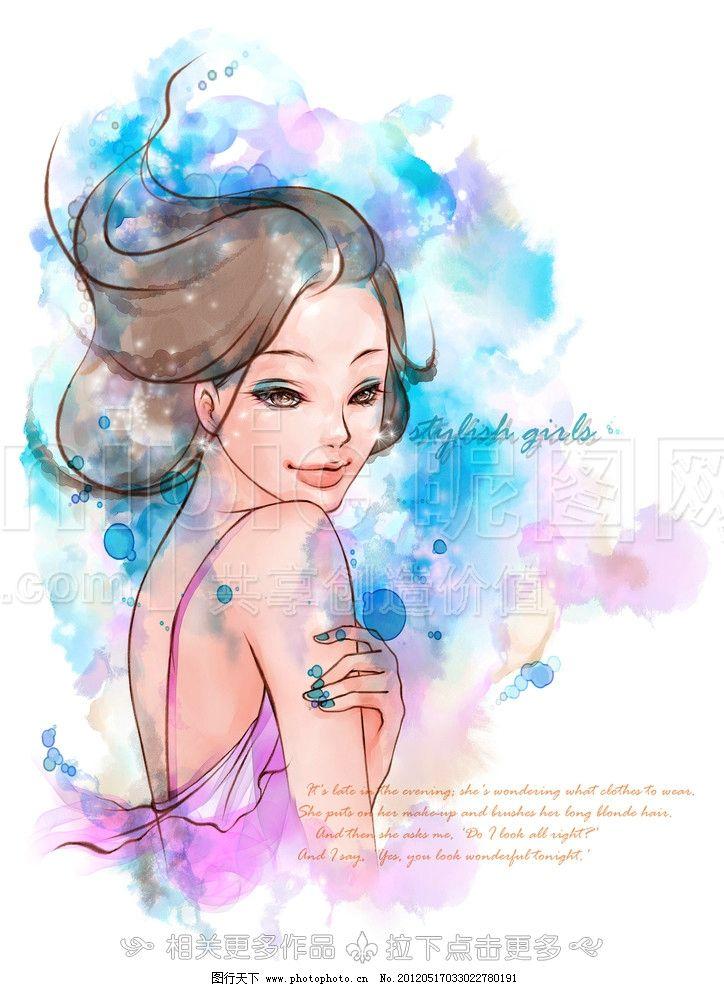 手绘少女 手绘女孩 水彩画少女 水彩画女孩 少女 女孩 青春少女 青春