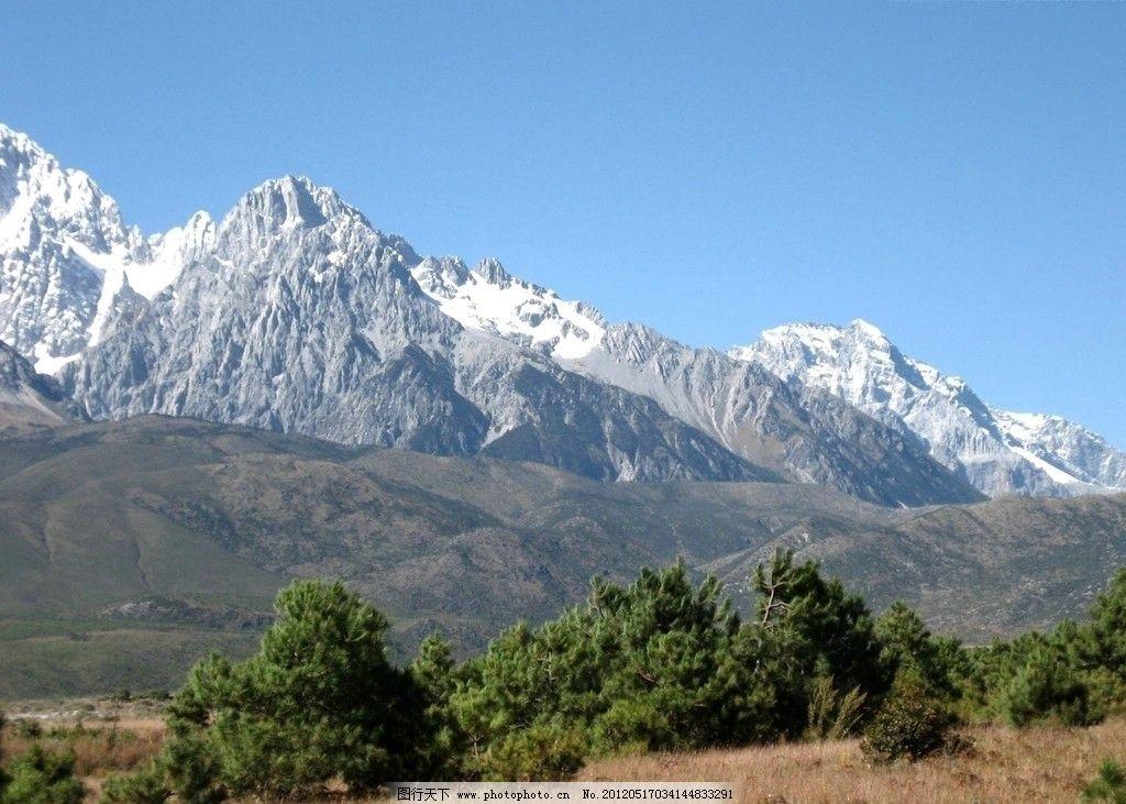 玉龙雪山远景 远处雪山 树林 草地 蓝天 自然风景 旅游摄影 摄影 180